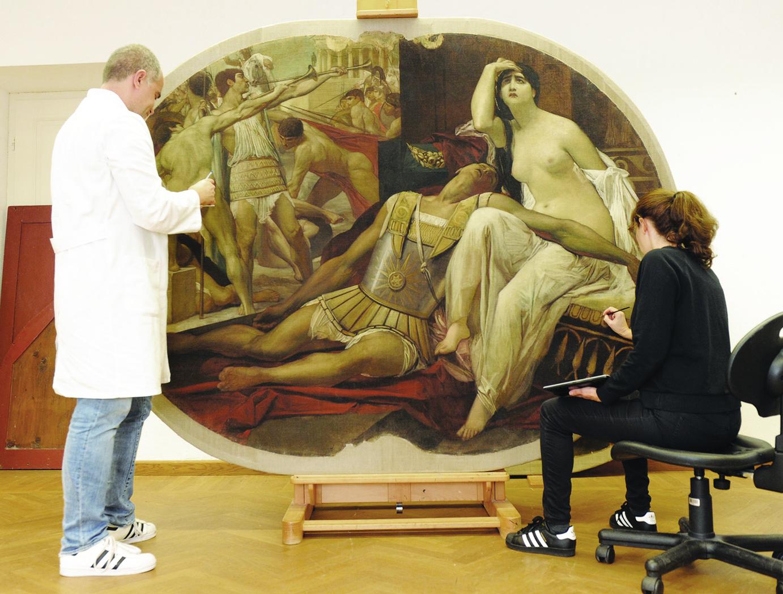 Ana Rušin Bulić i Goran Bulić pri restauraciji Klimtove slike Antonio i Kleopatra